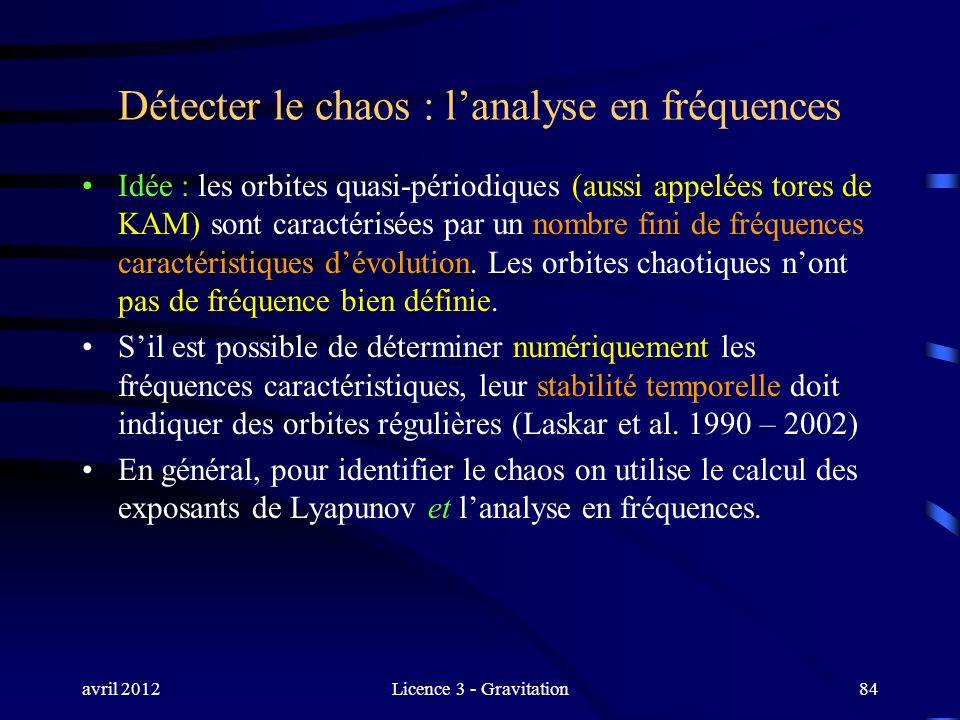 avril 2012Licence 3 - Gravitation84 Détecter le chaos : lanalyse en fréquences Idée : les orbites quasi-périodiques (aussi appelées tores de KAM) sont