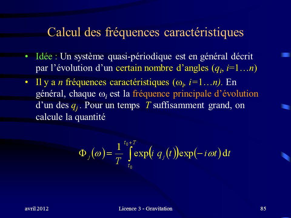 avril 2012Licence 3 - Gravitation85 Calcul des fréquences caractéristiques Idée : Un système quasi-périodique est en général décrit par lévolution dun