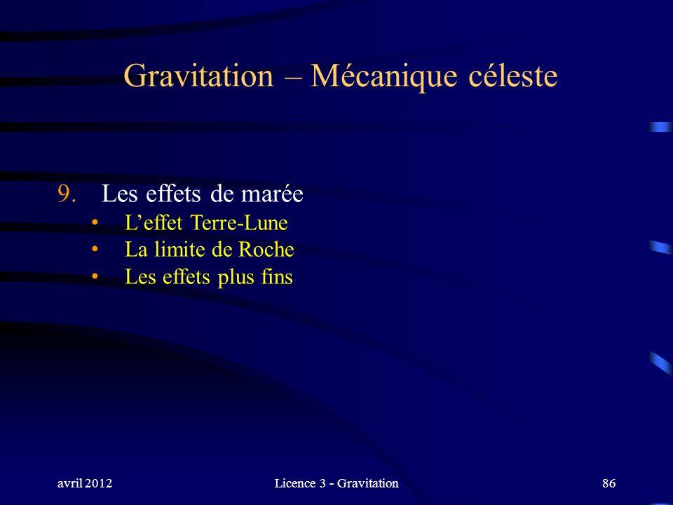 avril 2012Licence 3 - Gravitation86 Gravitation – Mécanique céleste 9. Les effets de marée Leffet Terre-Lune La limite de Roche Les effets plus fins