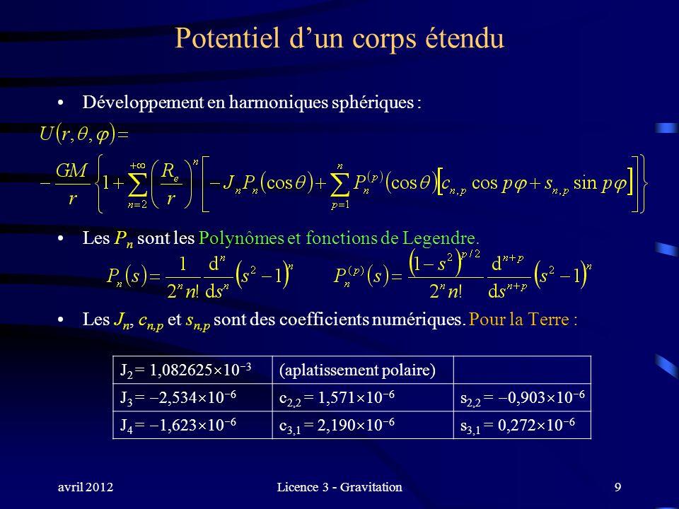 avril 2012Licence 3 - Gravitation9 Potentiel dun corps étendu Développement en harmoniques sphériques : Les P n sont les Polynômes et fonctions de Leg