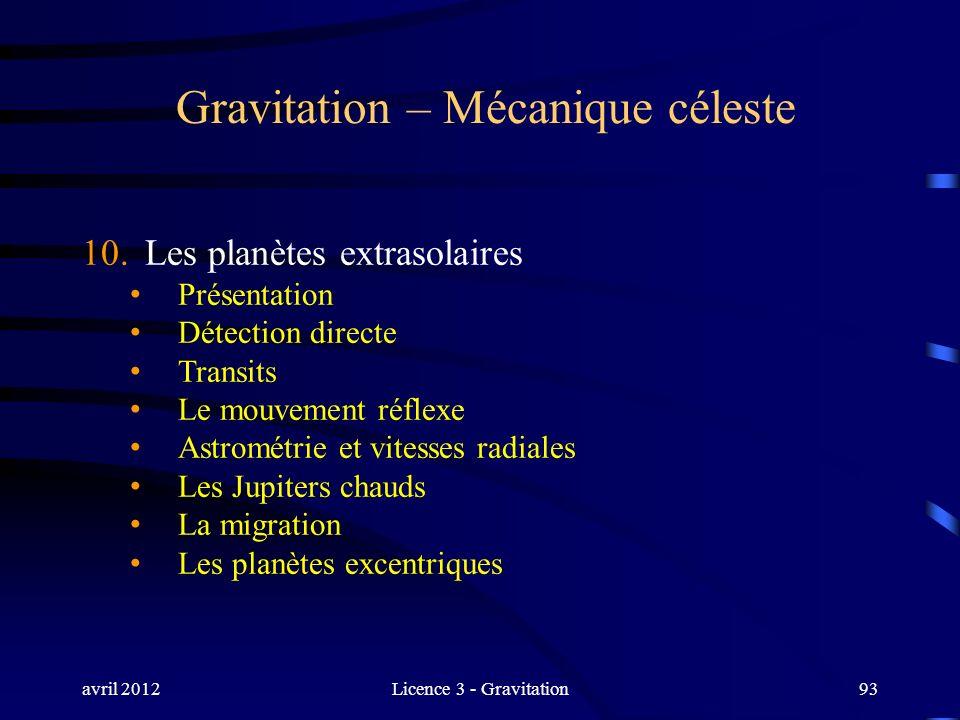 avril 2012Licence 3 - Gravitation93 Gravitation – Mécanique céleste 10. Les planètes extrasolaires Présentation Détection directe Transits Le mouvemen