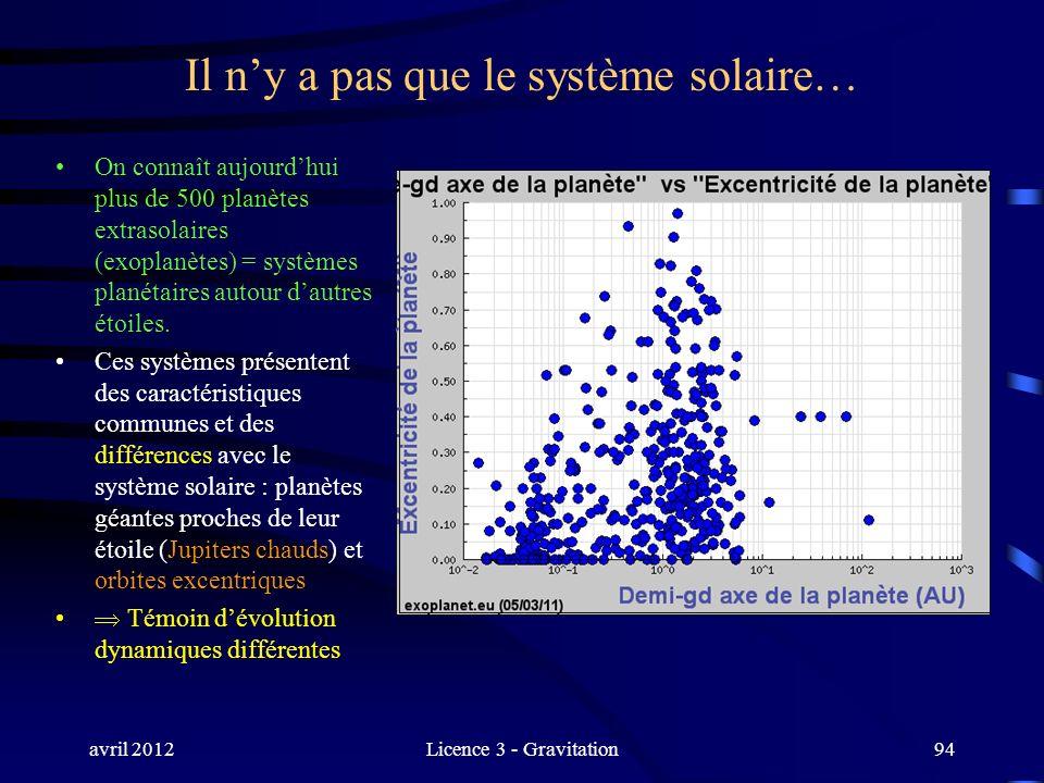 avril 2012Licence 3 - Gravitation94 Il ny a pas que le système solaire… On connaît aujourdhui plus de 500 planètes extrasolaires (exoplanètes) = systè