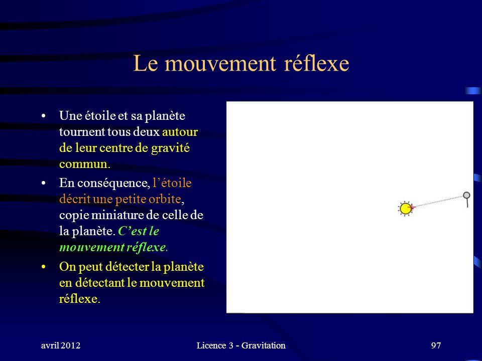 avril 2012Licence 3 - Gravitation97 Le mouvement réflexe Une étoile et sa planète tournent tous deux autour de leur centre de gravité commun. En consé