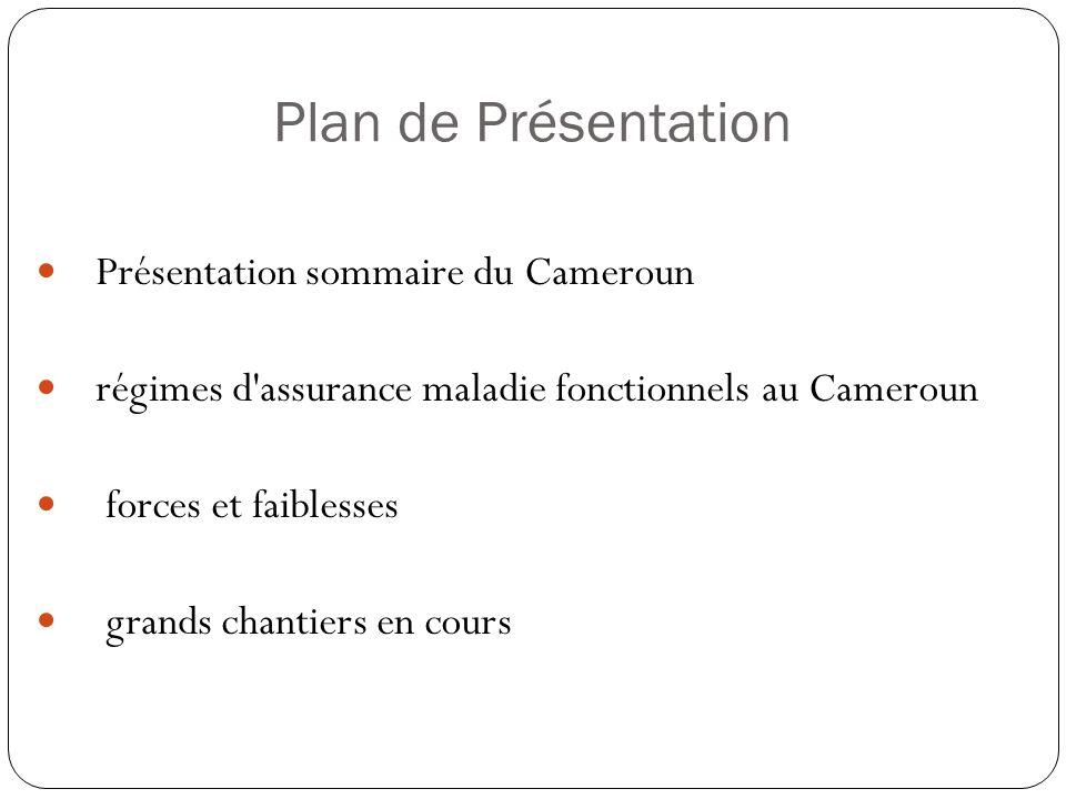 Plan de Présentation Présentation sommaire du Cameroun régimes d assurance maladie fonctionnels au Cameroun forces et faiblesses grands chantiers en cours