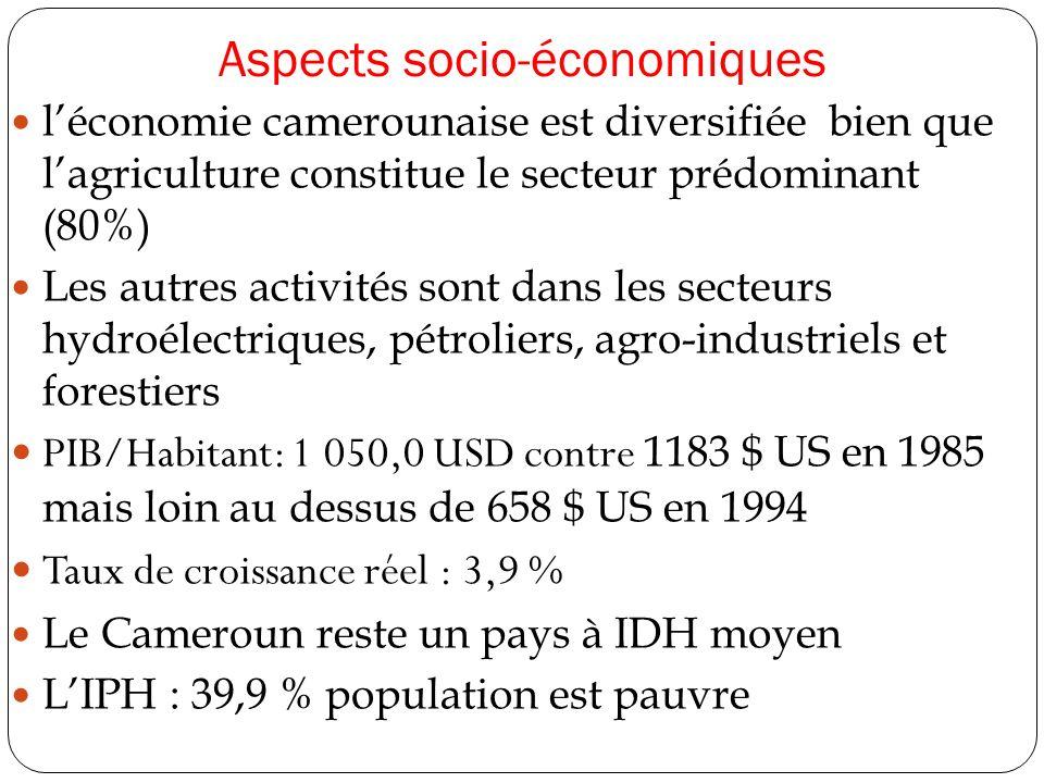 Aspects socio-économiques léconomie camerounaise est diversifiée bien que lagriculture constitue le secteur prédominant (80%) Les autres activités sont dans les secteurs hydroélectriques, pétroliers, agro-industriels et forestiers PIB/Habitant: 1 050,0 USD contre 1183 $ US en 1985 mais loin au dessus de 658 $ US en 1994 Taux de croissance réel : 3,9 % Le Cameroun reste un pays à IDH moyen LIPH : 39,9 % population est pauvre