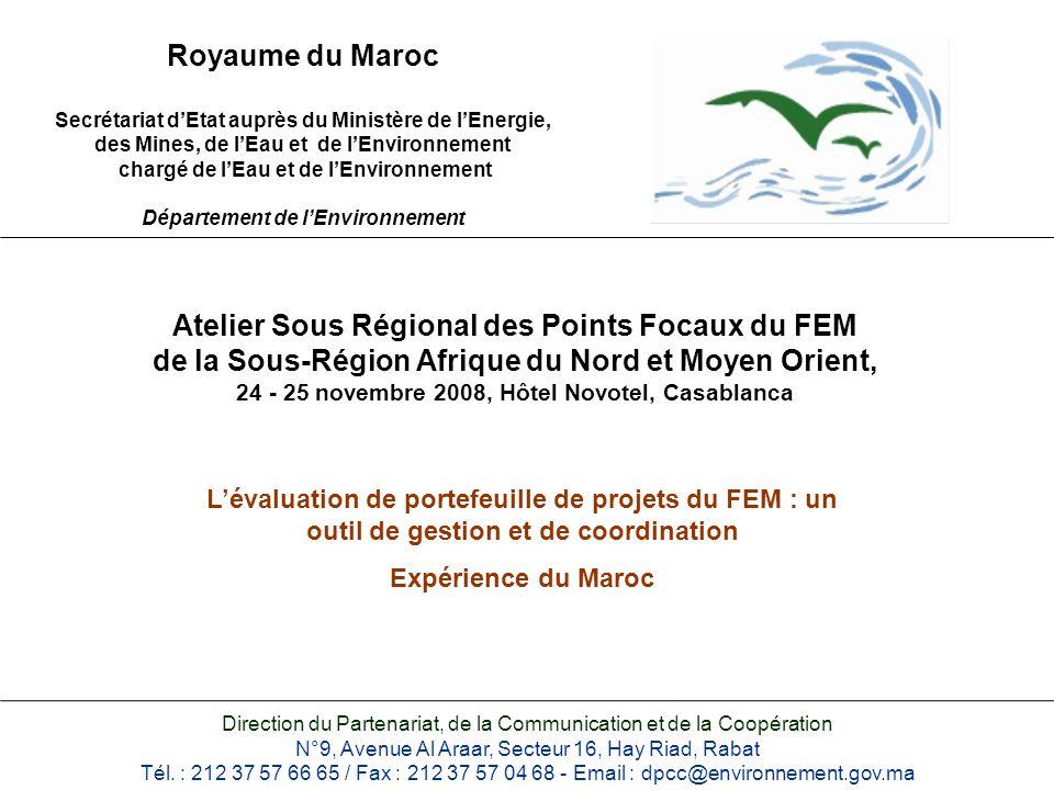 Royaume du Maroc Secrétariat dEtat auprès du Ministère de lEnergie, des Mines, de lEau et de lEnvironnement chargé de lEau et de lEnvironnement Départ