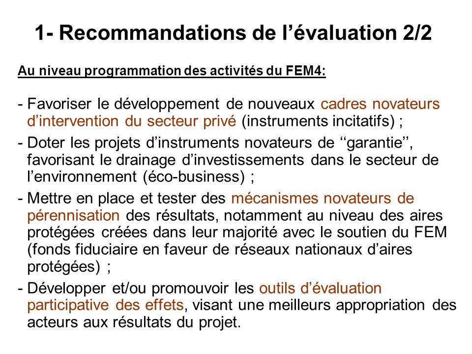 Au niveau programmation des activités du FEM4: - Favoriser le développement de nouveaux cadres novateurs dintervention du secteur privé (instruments i