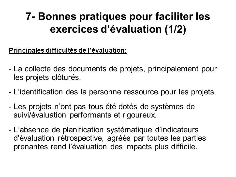 Principales difficultés de lévaluation: - La collecte des documents de projets, principalement pour les projets clôturés. - Lidentification des la per