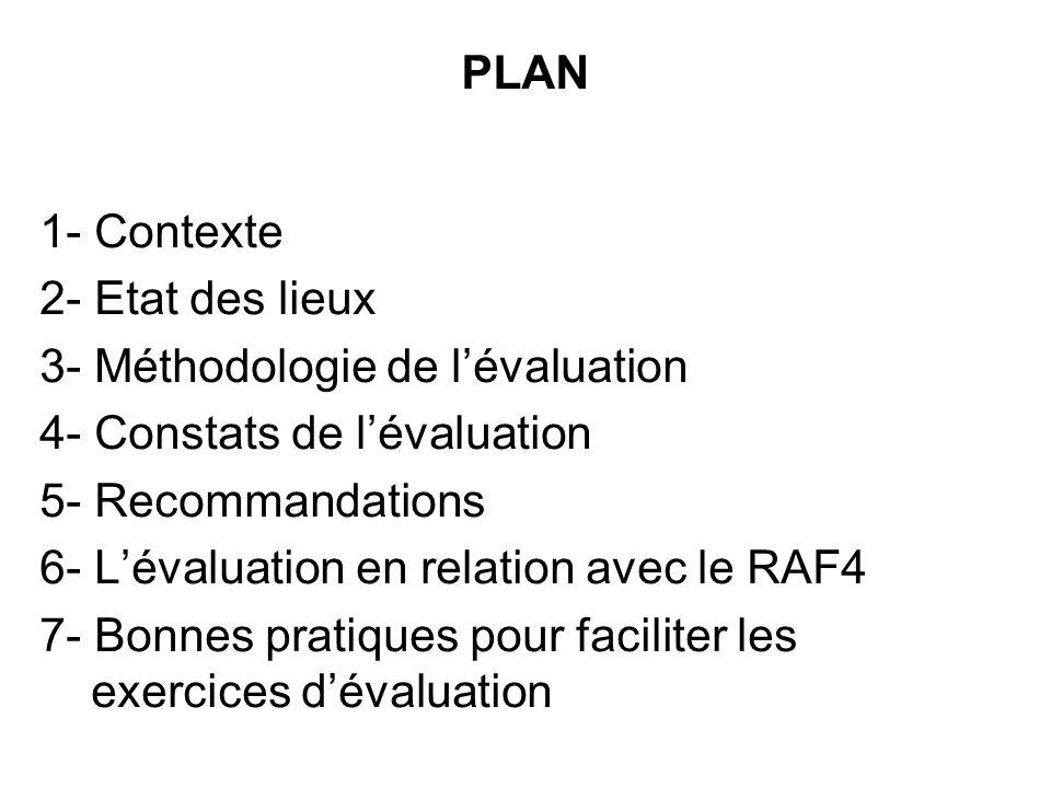 1- Contexte 2- Etat des lieux 3- Méthodologie de lévaluation 4- Constats de lévaluation 5- Recommandations 6- Lévaluation en relation avec le RAF4 7-
