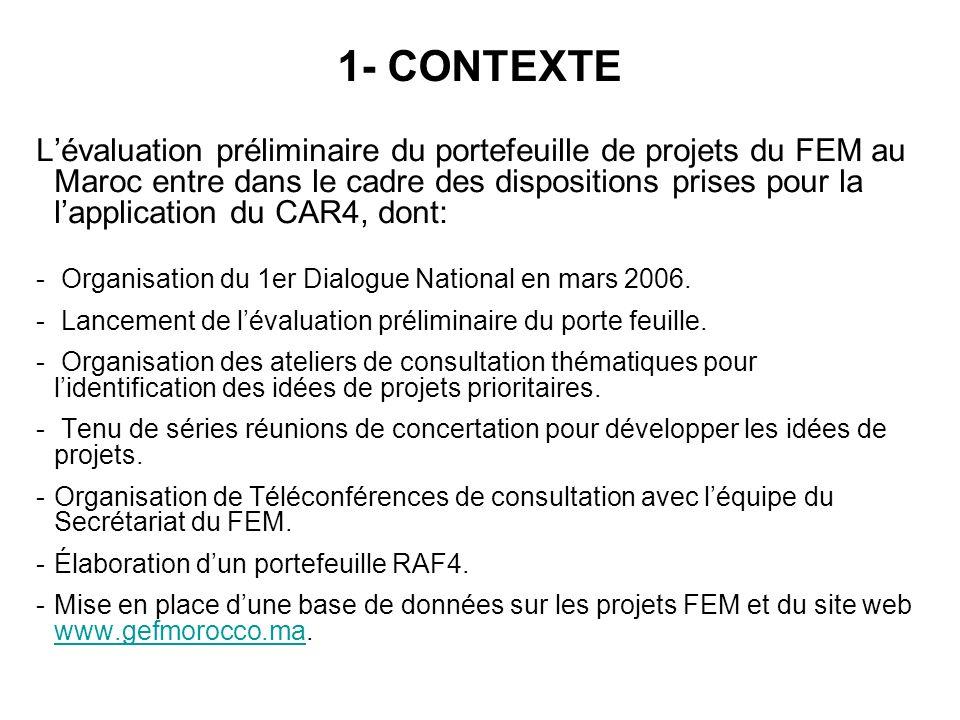 Lévaluation préliminaire du portefeuille de projets du FEM au Maroc entre dans le cadre des dispositions prises pour la lapplication du CAR4, dont: -