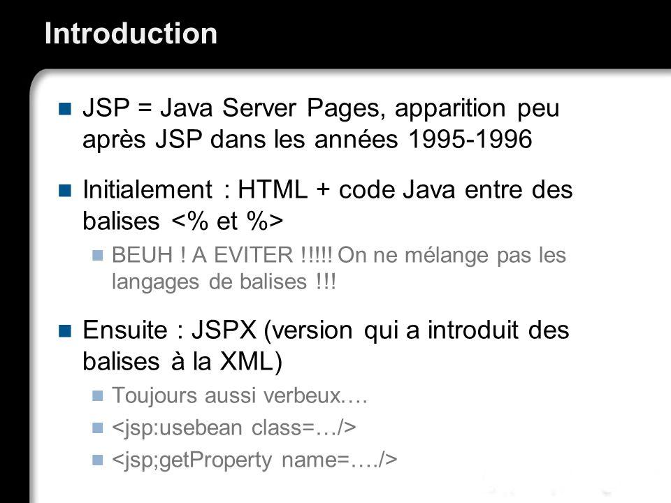 Introduction JSP = Java Server Pages, apparition peu après JSP dans les années 1995-1996 Initialement : HTML + code Java entre des balises BEUH .