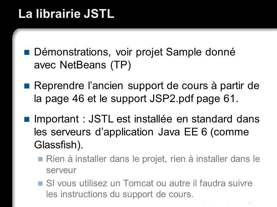 La librairie JSTL Démonstrations, voir projet Sample donné avec NetBeans (TP) Reprendre lancien support de cours à partir de la page 46 et le support JSP2.pdf page 61.