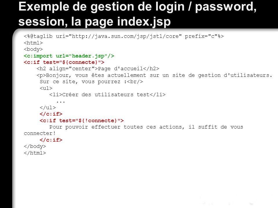 Exemple de gestion de login / password, session, la page index.jsp Page d accueil Bonjour, vous êtes actuellement sur un site de gestion d utilisateurs.