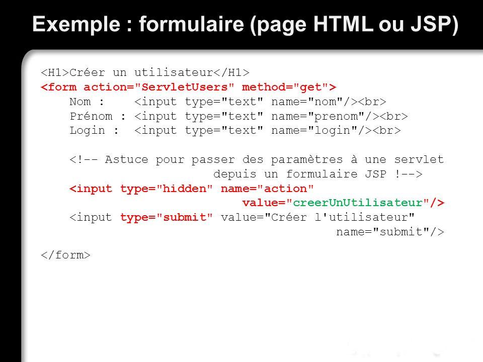 Exemple : formulaire (page HTML ou JSP) Créer un utilisateur Nom : Prénom : Login :