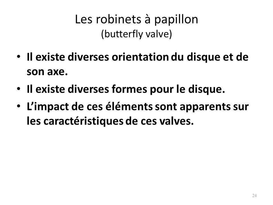 Les robinets à papillon (butterfly valve) Il existe diverses orientation du disque et de son axe. Il existe diverses formes pour le disque. Limpact de