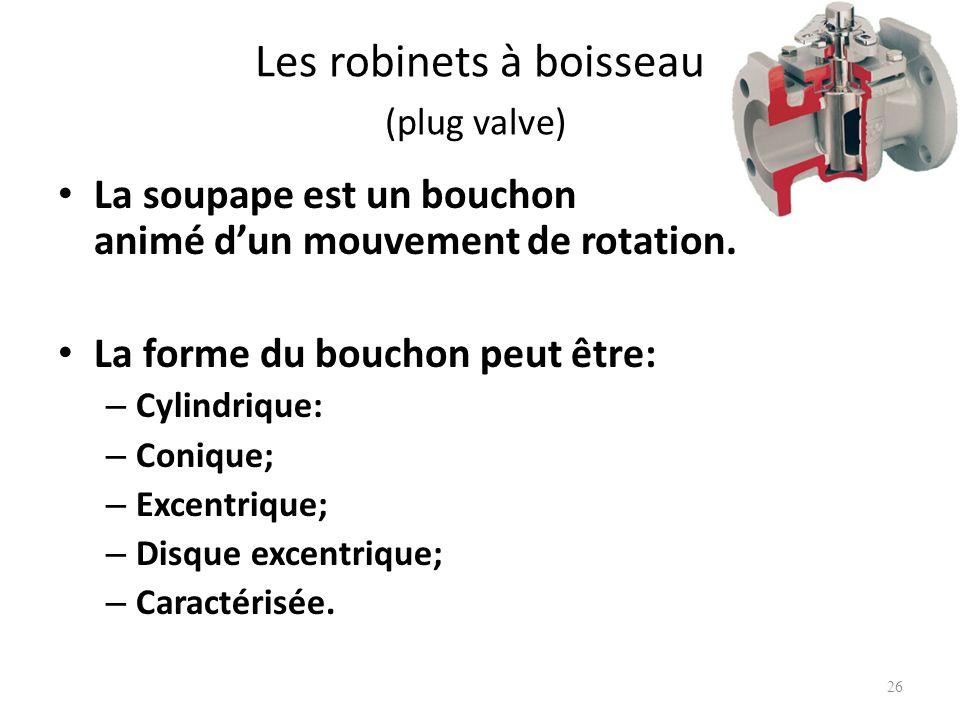 Les robinets à boisseau (plug valve) La soupape est un bouchon animé dun mouvement de rotation. La forme du bouchon peut être: – Cylindrique: – Coniqu