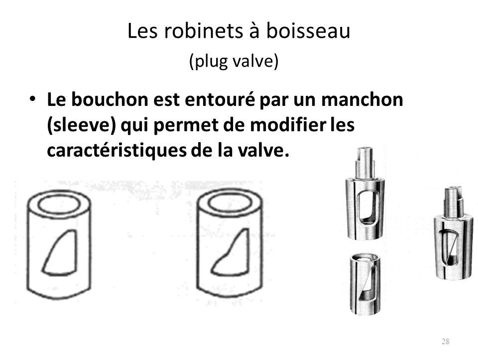 Les robinets à boisseau (plug valve) Le bouchon est entouré par un manchon (sleeve) qui permet de modifier les caractéristiques de la valve. 28