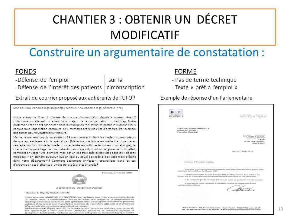CHANTIER 3 : OBTENIR UN DÉCRET MODIFICATIF Monsieur ou Madame le (a) Député(e), Monsieur ou Madame le (a) Sénateur (rice), Notre entreprise X est impl