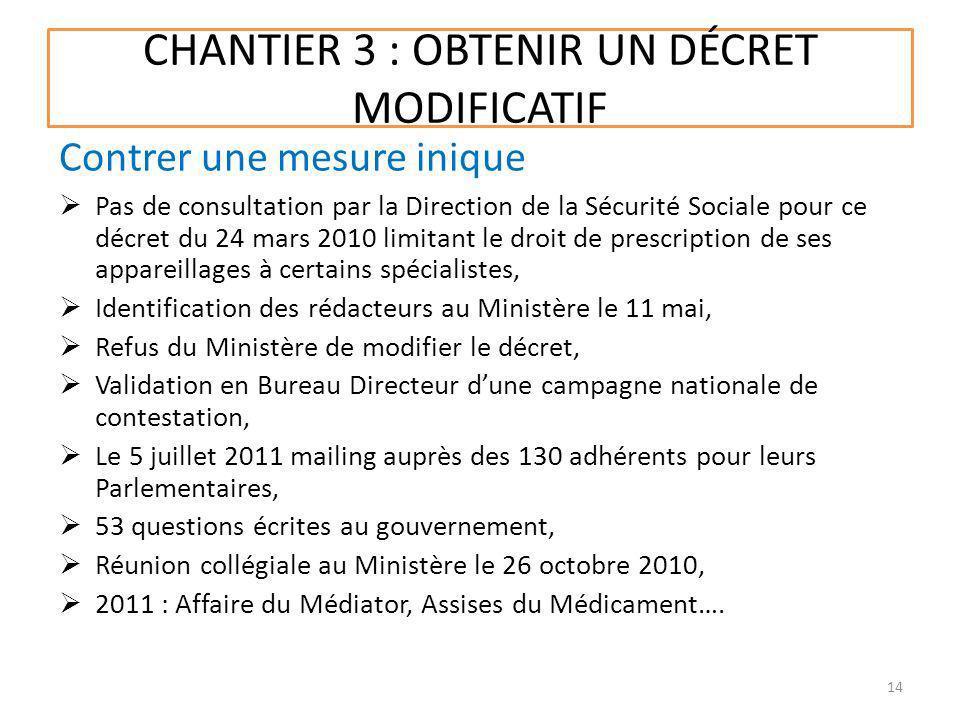 CHANTIER 3 : OBTENIR UN DÉCRET MODIFICATIF Pas de consultation par la Direction de la Sécurité Sociale pour ce décret du 24 mars 2010 limitant le droi