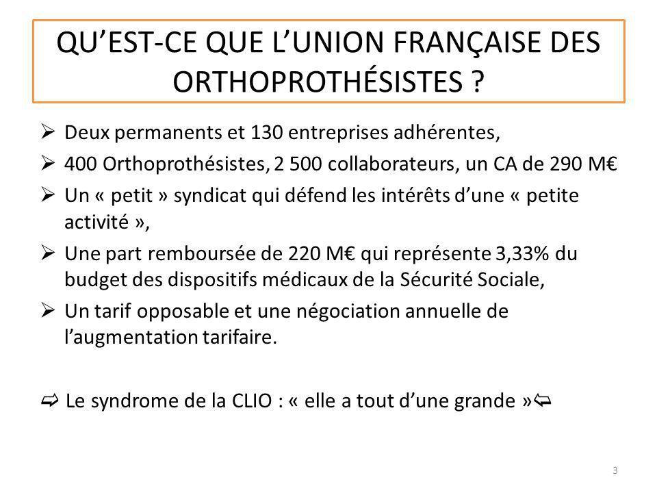 QUEST-CE QUE LUNION FRANҪAISE DES ORTHOPROTHÉSISTES ? Deux permanents et 130 entreprises adhérentes, 400 Orthoprothésistes, 2 500 collaborateurs, un C