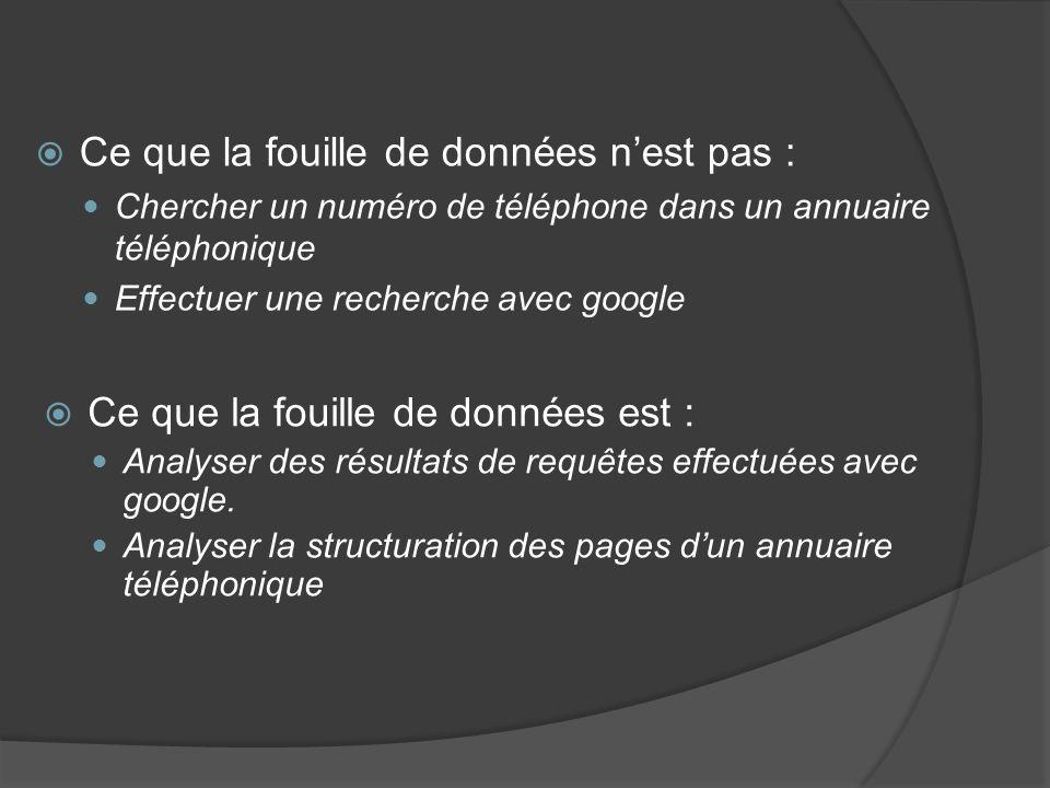 Ce que la fouille de données nest pas : Chercher un numéro de téléphone dans un annuaire téléphonique Effectuer une recherche avec google Ce que la fouille de données est : Analyser des résultats de requêtes effectuées avec google.