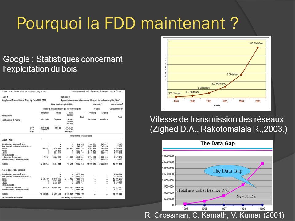 Pourquoi la FDD maintenant ? Google : Statistiques concernant lexploitation du bois Vitesse de transmission des réseaux (Zighed D.A., Rakotomalala R.,