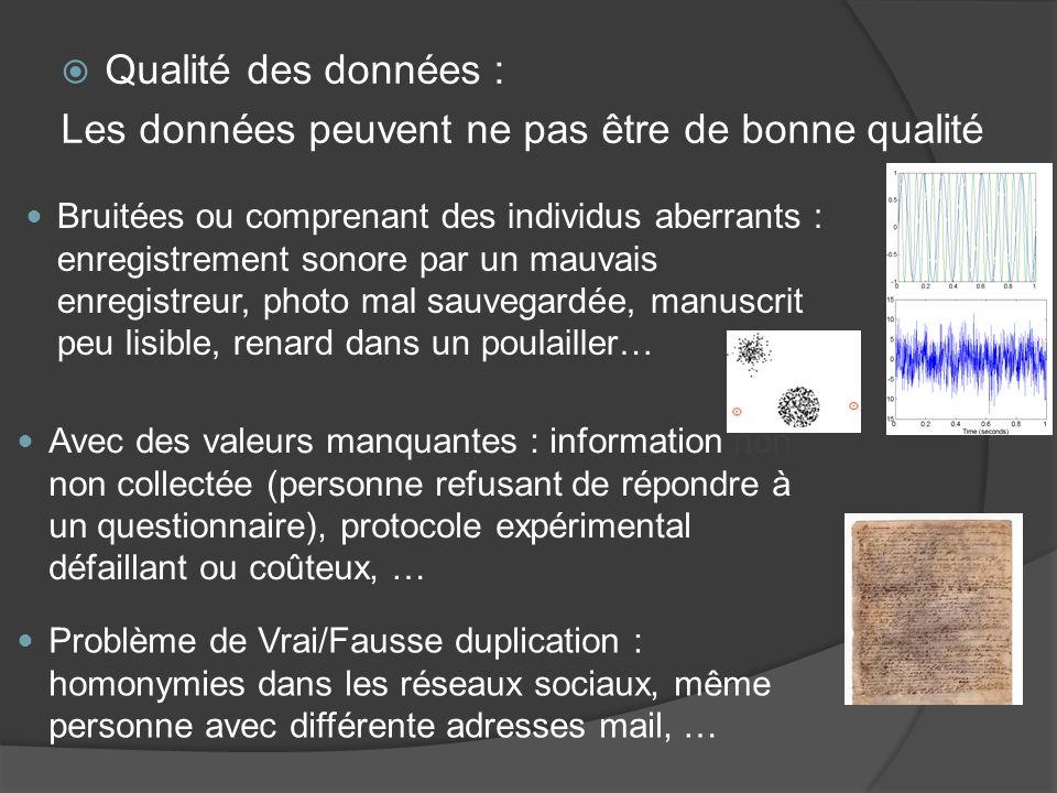Qualité des données : Les données peuvent ne pas être de bonne qualité Bruitées ou comprenant des individus aberrants : enregistrement sonore par un m