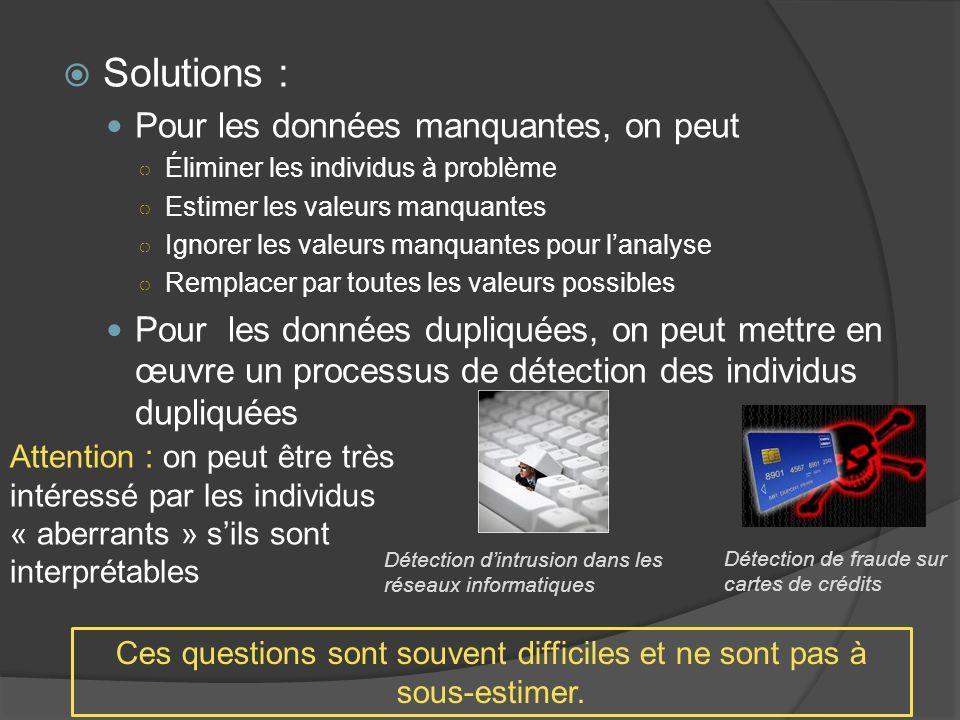 Solutions : Pour les données manquantes, on peut Éliminer les individus à problème Estimer les valeurs manquantes Ignorer les valeurs manquantes pour