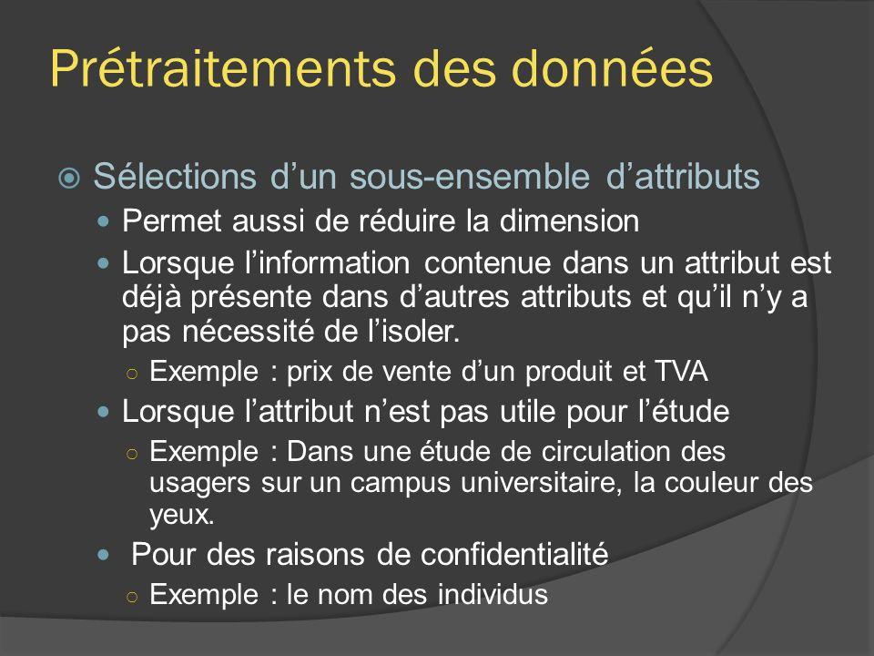 Prétraitements des données Sélections dun sous-ensemble dattributs Permet aussi de réduire la dimension Lorsque linformation contenue dans un attribut est déjà présente dans dautres attributs et quil ny a pas nécessité de lisoler.