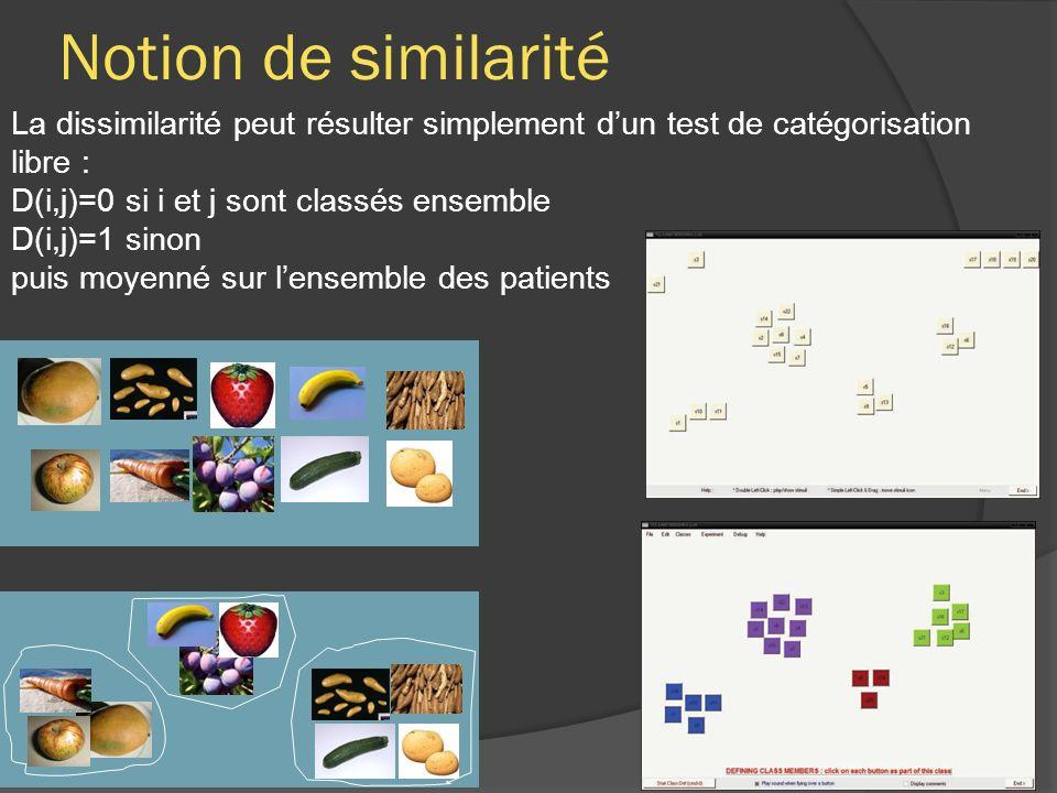Notion de similarité La dissimilarité peut résulter simplement dun test de catégorisation libre : D(i,j)=0 si i et j sont classés ensemble D(i,j)=1 sinon puis moyenné sur lensemble des patients