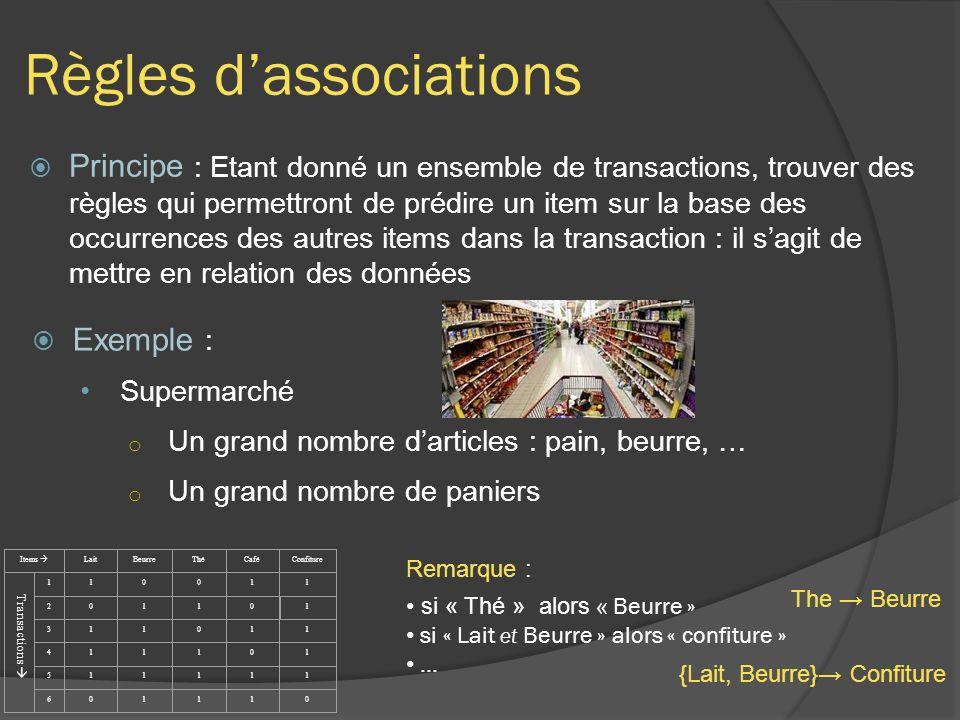 Règles dassociations Principe : Etant donné un ensemble de transactions, trouver des règles qui permettront de prédire un item sur la base des occurre