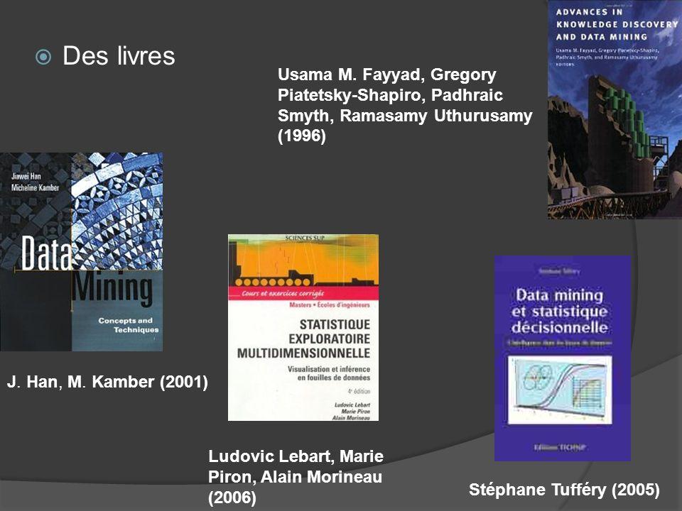 J. Han, M. Kamber (2001) Ludovic Lebart, Marie Piron, Alain Morineau (2006) Stéphane Tufféry (2005) Usama M. Fayyad, Gregory Piatetsky-Shapiro, Padhra