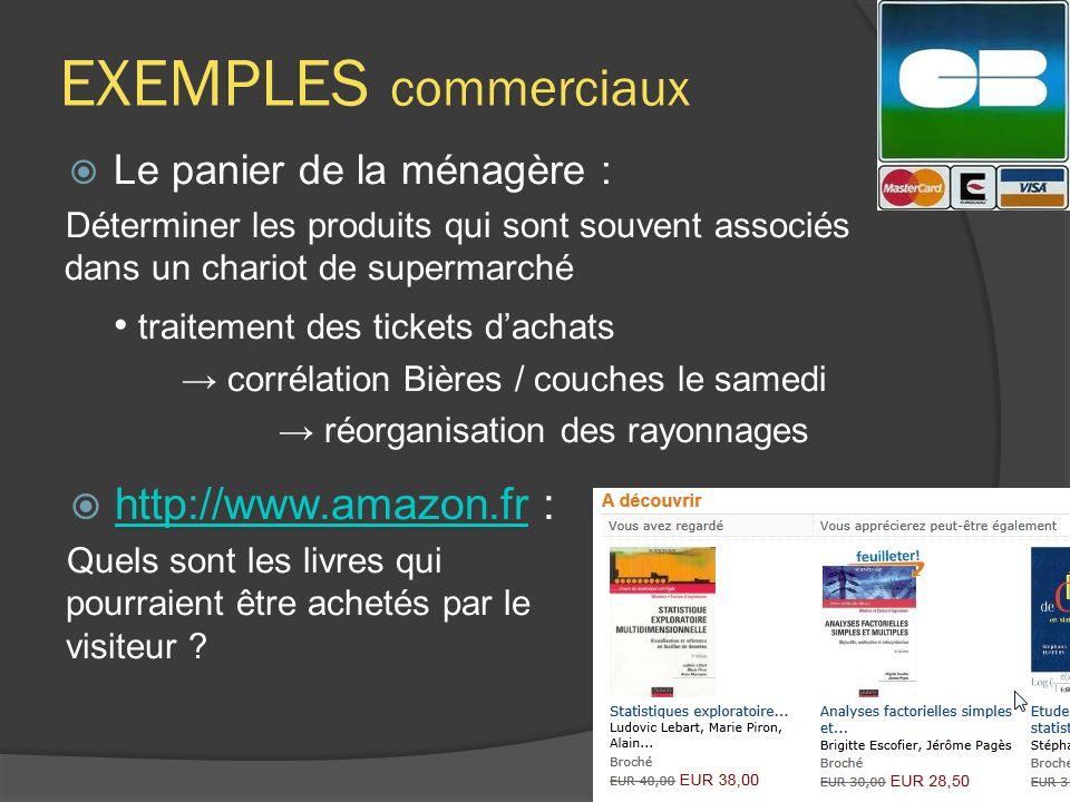 EXEMPLES commerciaux Le panier de la ménagère : Déterminer les produits qui sont souvent associés dans un chariot de supermarché traitement des ticket