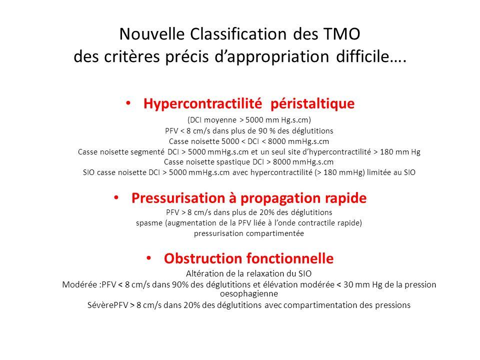 Nouvelle Classification des TMO des critères précis dappropriation difficile…. Hypercontractilité péristaltique (DCI moyenne > 5000 mm Hg.s.cm) PFV <