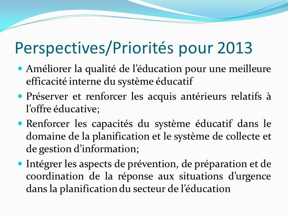 Perspectives/Priorités pour 2013 Améliorer la qualité de léducation pour une meilleure efficacité interne du système éducatif Préserver et renforcer l