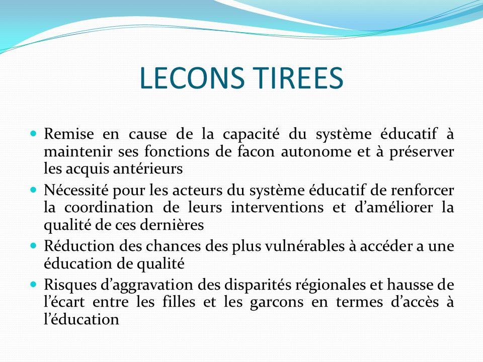 LECONS TIREES Remise en cause de la capacité du système éducatif à maintenir ses fonctions de facon autonome et à préserver les acquis antérieurs Néce