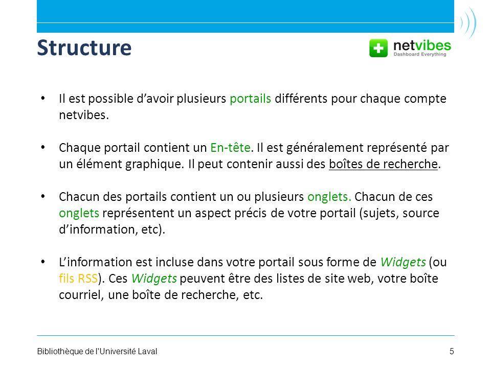 5Bibliothèque de l'Université Laval Structure Il est possible davoir plusieurs portails différents pour chaque compte netvibes. Chaque portail contien
