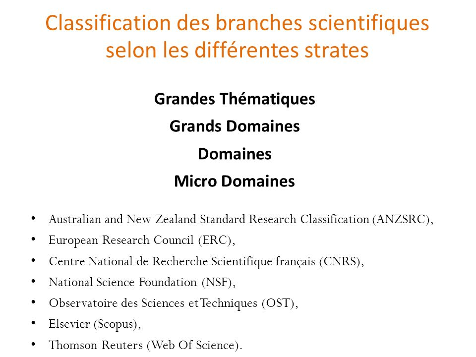 Classification des branches scientifiques selon les différentes strates Australian and New Zealand Standard Research Classification (ANZSRC), European