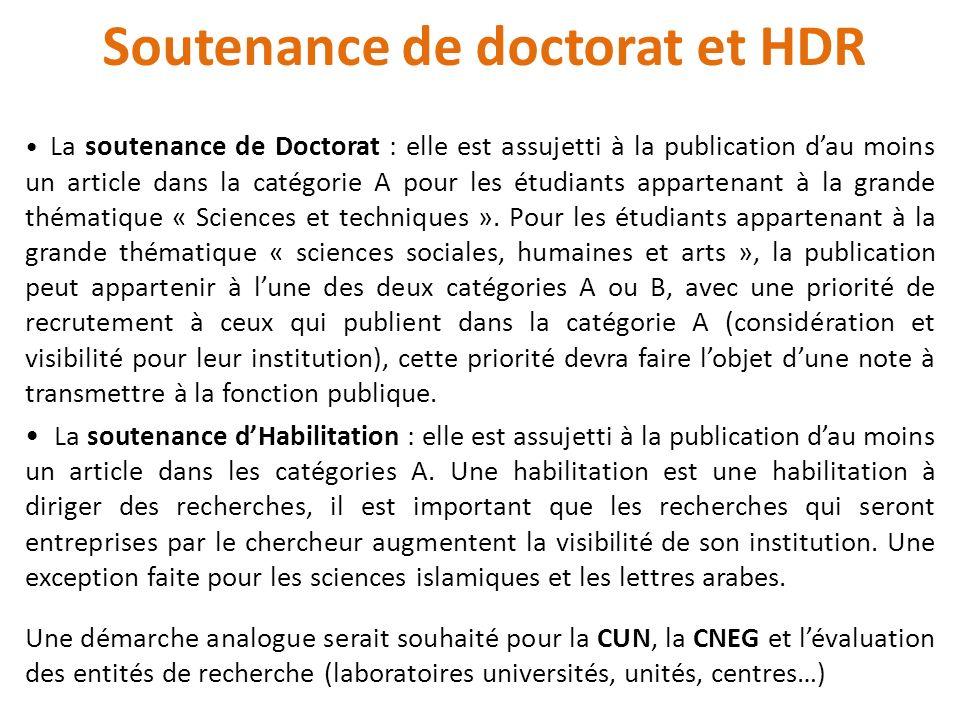 Soutenance de doctorat et HDR La soutenance de Doctorat : elle est assujetti à la publication dau moins un article dans la catégorie A pour les étudiants appartenant à la grande thématique « Sciences et techniques ».