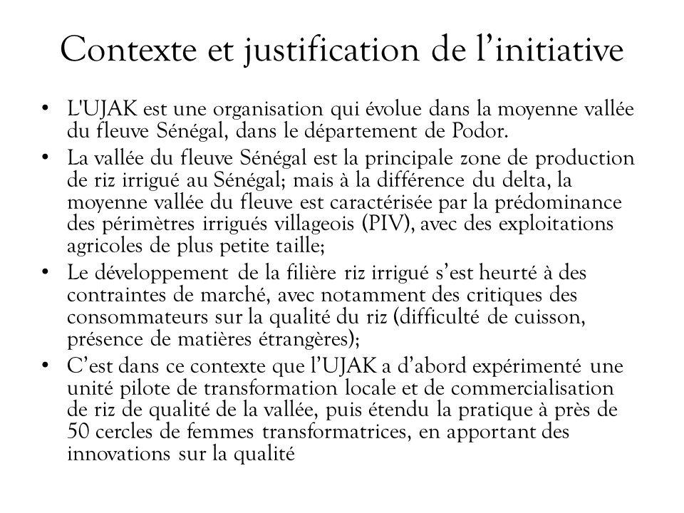Contexte et justification de linitiative L UJAK est une organisation qui évolue dans la moyenne vallée du fleuve Sénégal, dans le département de Podor.