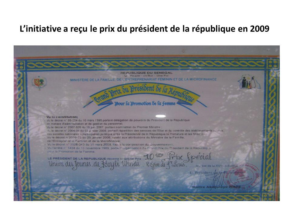 Linitiative a reçu le prix du président de la république en 2009