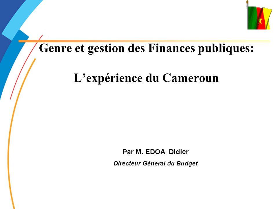 Gender and public finance management: the case of Cameroon 2 PLAN DE LA PRESENTATION Quelques indicateurs Le cadre normatif Le dispositif stratégique Le système budgétaire et comptable Laccompagnement des partenaires techniques et financiers.
