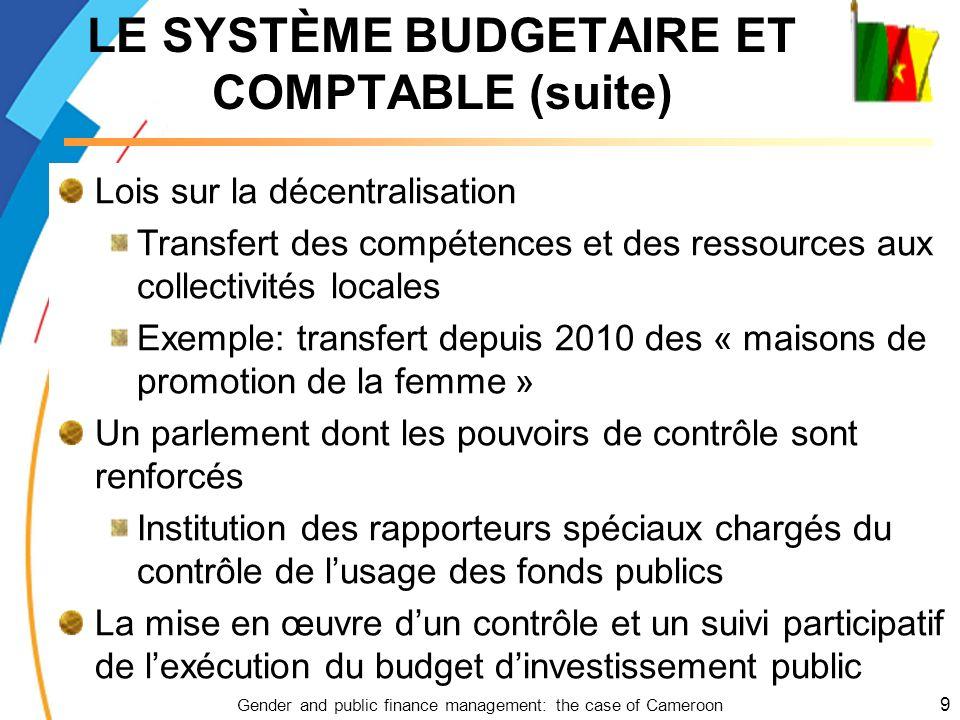 Gender and public finance management: the case of Cameroon 9 Lois sur la décentralisation Transfert des compétences et des ressources aux collectivité