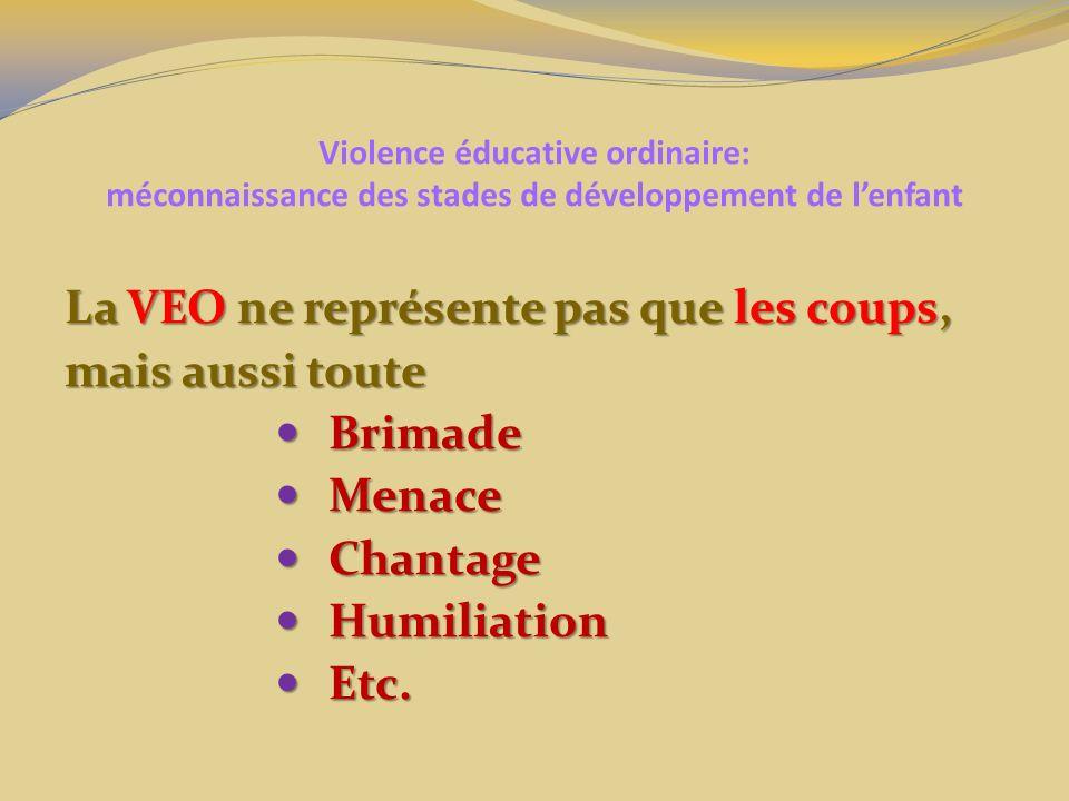 Violence éducative ordinaire: méconnaissance des stades de développement de lenfant La VEO ne représente pas que les coups, mais aussi toute Brimade B
