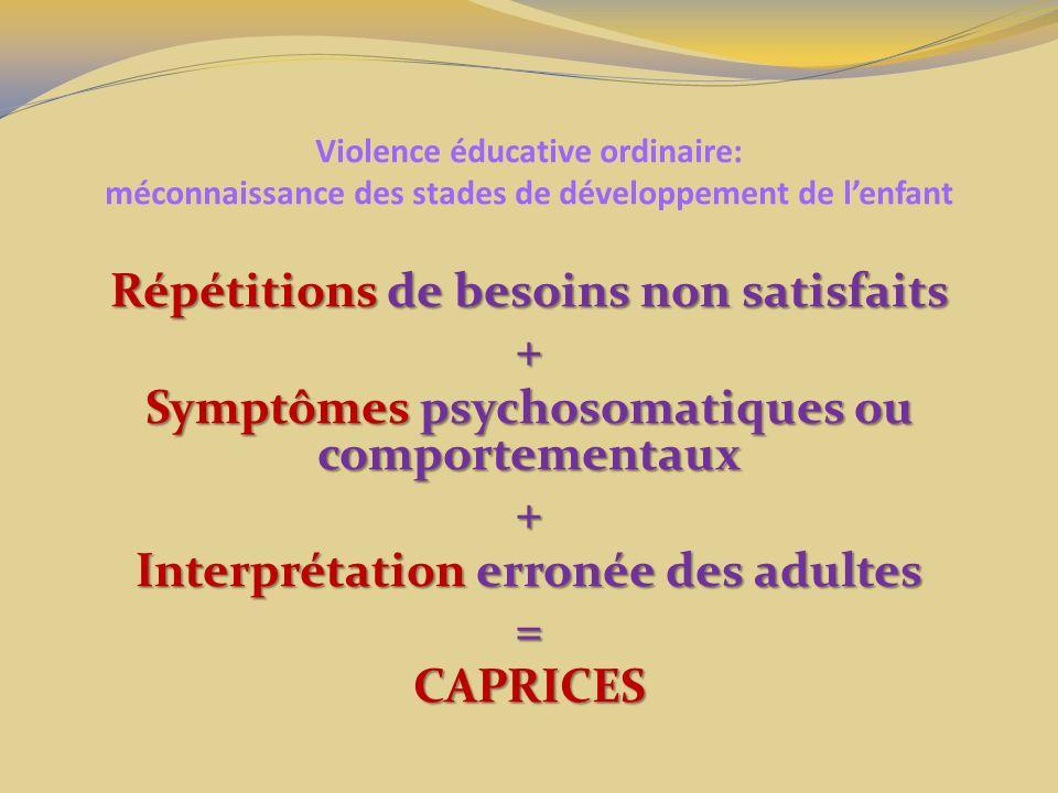 Violence éducative ordinaire: méconnaissance des stades de développement de lenfant Répétitions de besoins non satisfaits + Symptômes psychosomatiques ou comportementaux + Interprétation erronée des adultes =CAPRICES