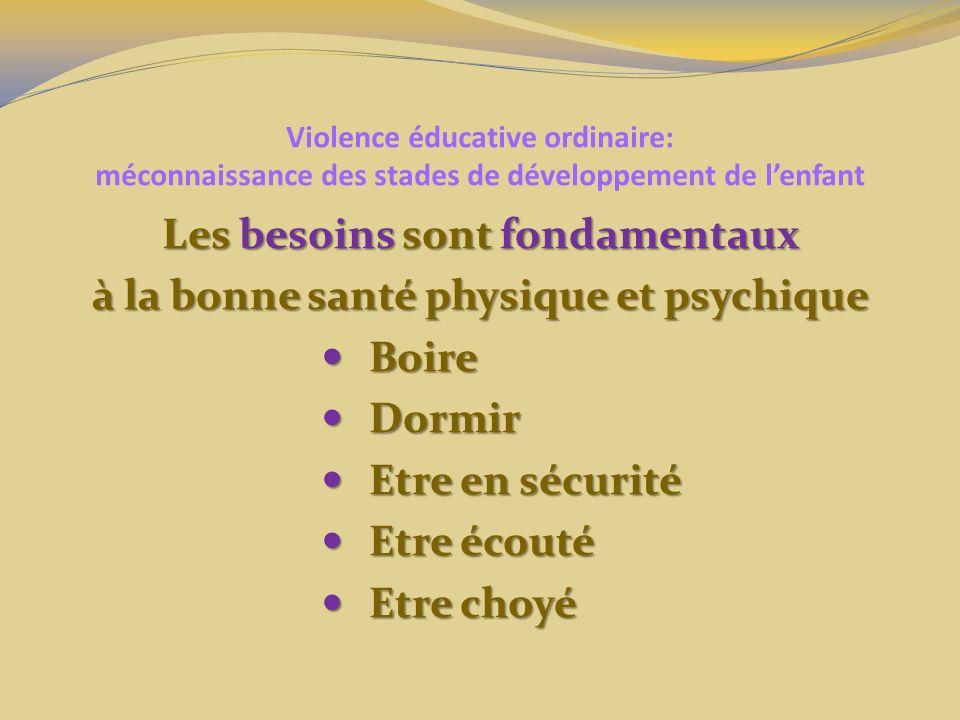 Violence éducative ordinaire: méconnaissance des stades de développement de lenfant Les besoins sont fondamentaux à la bonne santé physique et psychique Boire Boire Dormir Dormir Etre en sécurité Etre en sécurité Etre écouté Etre écouté Etre choyé Etre choyé