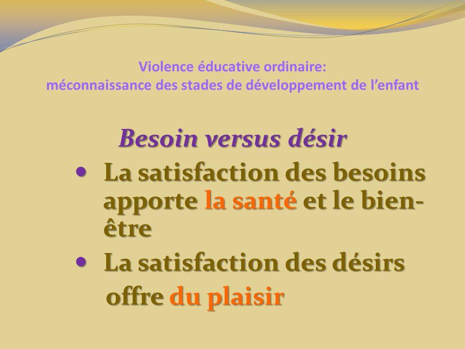 Violence éducative ordinaire: méconnaissance des stades de développement de lenfant Besoin versus désir La satisfaction des besoins apporte la santé e