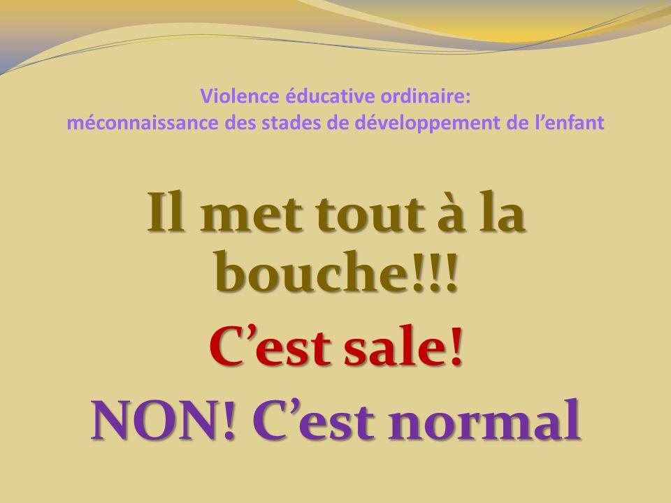 Violence éducative ordinaire: méconnaissance des stades de développement de lenfant Il met tout à la bouche!!! Cest sale! NON! Cest normal