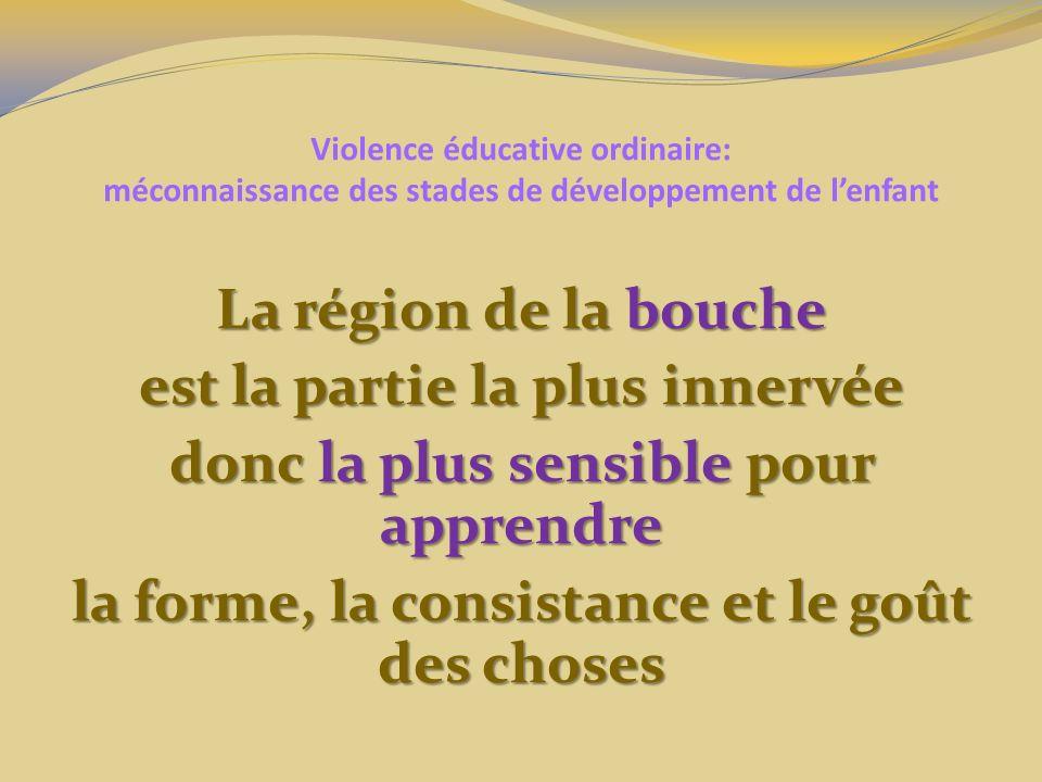 Violence éducative ordinaire: méconnaissance des stades de développement de lenfant La région de la bouche est la partie la plus innervée donc la plus sensible pour apprendre la forme, la consistance et le goût des choses