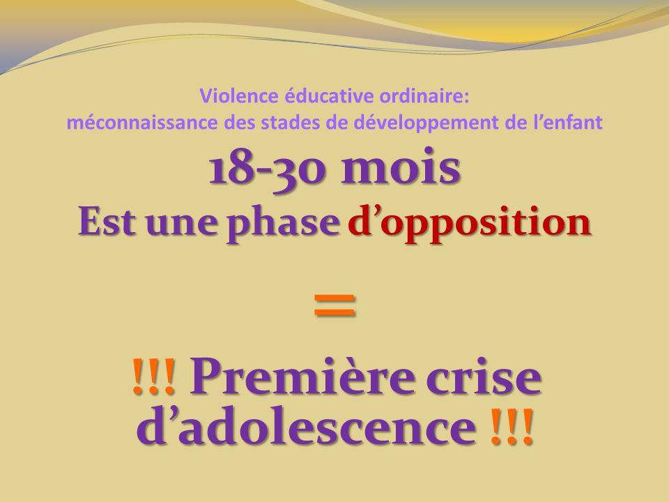 Violence éducative ordinaire: méconnaissance des stades de développement de lenfant 18-30 mois Est une phase dopposition = !!! Première crise dadolesc